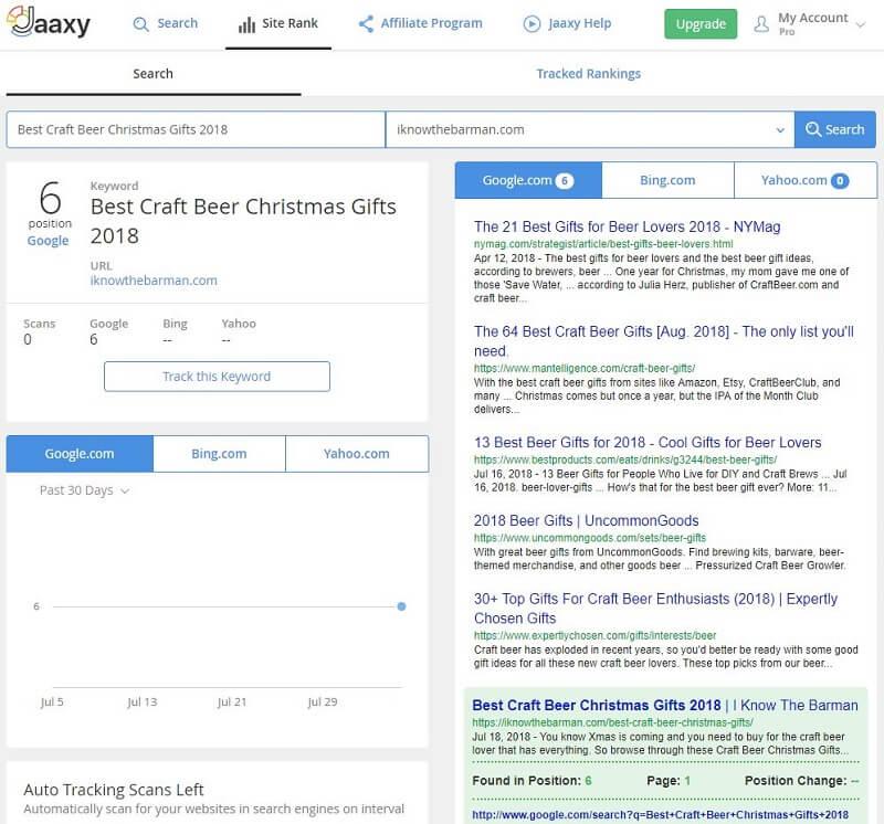 SEO Keyword Ranking Checker Tool Jaaxy rank
