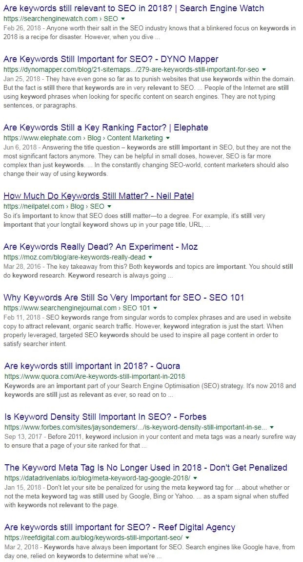 Are keywords still important search1