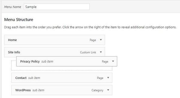 How to Create a Drop Down Menu in WordPress-move