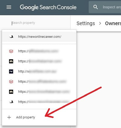 Add a Property to Google Console