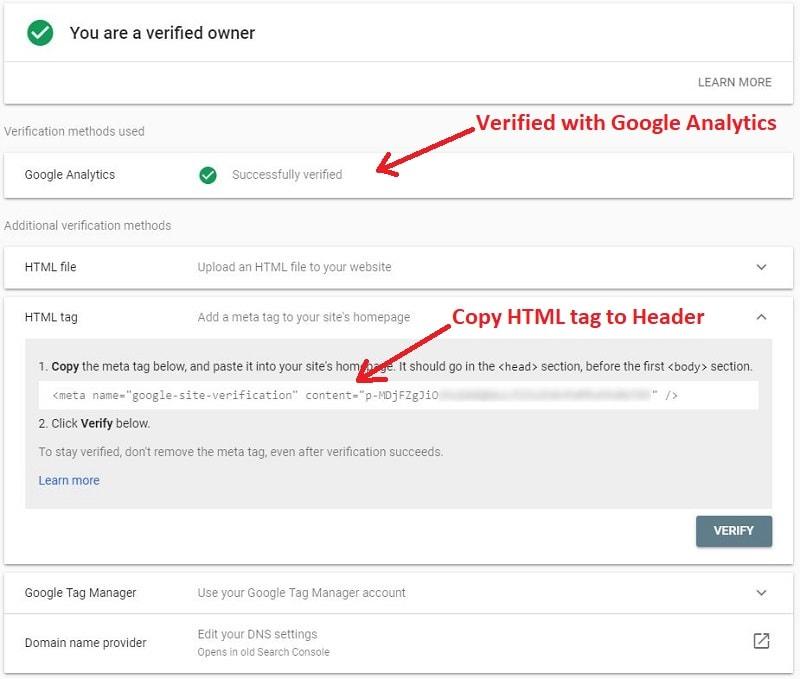 Google webmaster console verify options