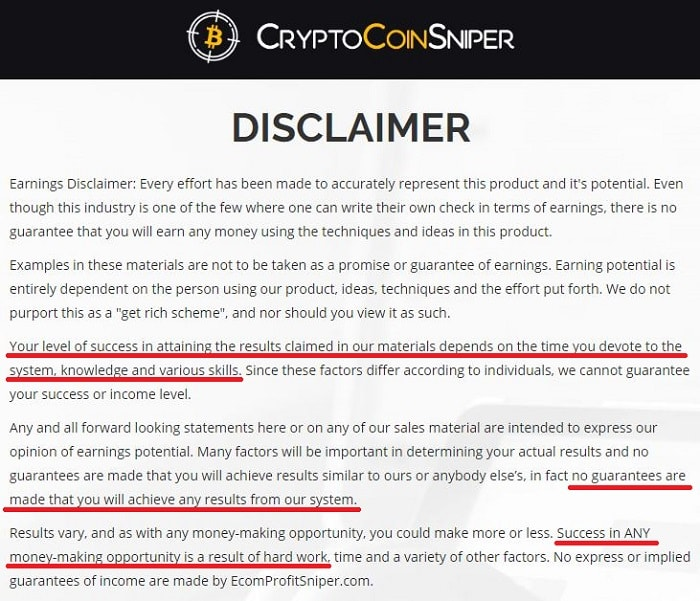 Is Crypto Coin Sniper a Scam Disclaimer