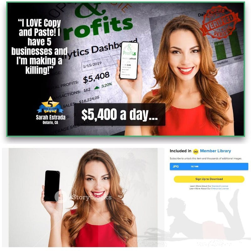 Point 2 Click Profits lady in testimonial