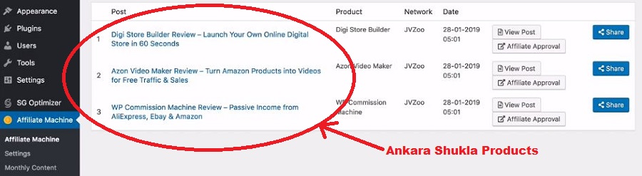 What is WP Affiliate Machine Ankur Shukla Products