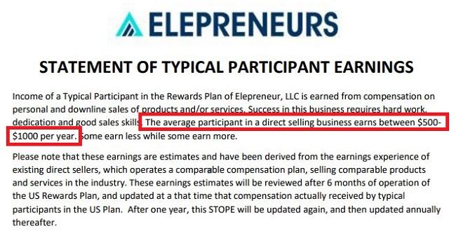 Elepreneurs Income Disclosure