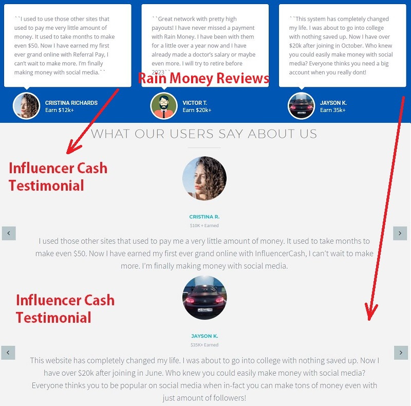 Influencer Cash Testimonials