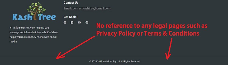 No KashTree Legal Pages
