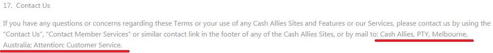 CashAllies Contact info