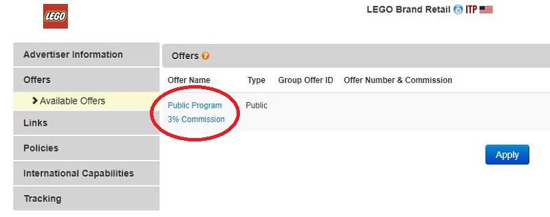 Lego Affiliate Program Commission Rates