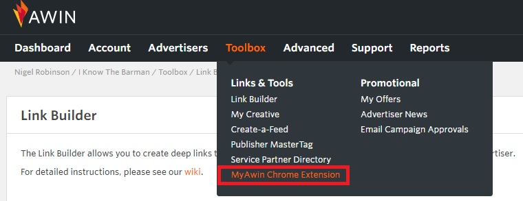 Etsy Awin Chrome Extension