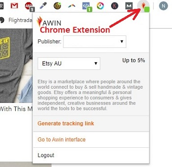 Awin Chrome Extension for Etsy