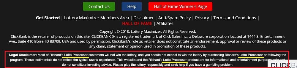 Lottery Maximizer Disclaimer