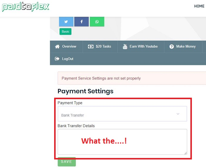Paid to Flex Payment Bank Details