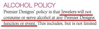 Premier Designs Jewelry Alcohol Policy