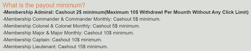 PicoClix Payout Table