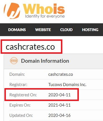 CashCrates co Registry Date