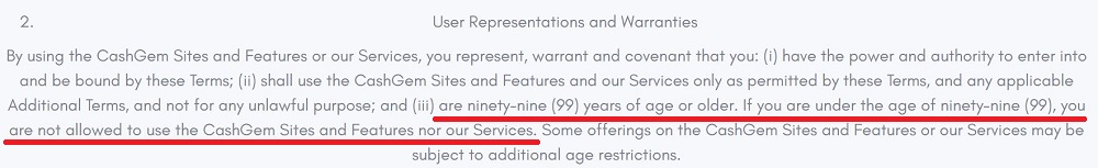 CashGem-co Age Restriction