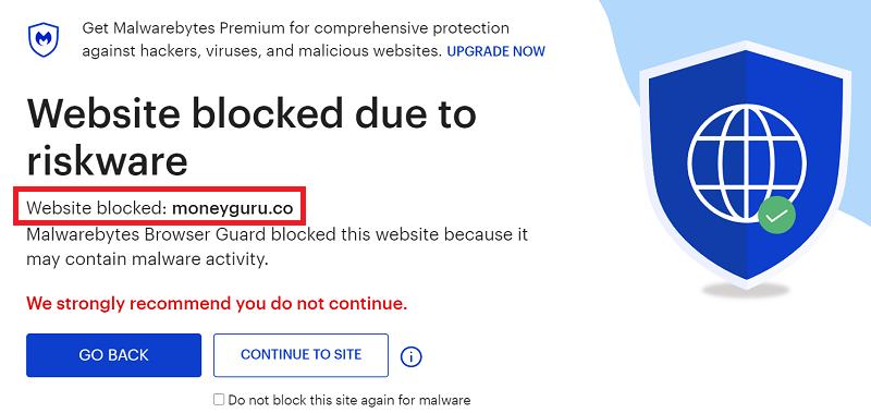 MoneyGunu.co website Blocked due to riskware