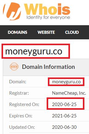 MoneyGuru co Registeration Date