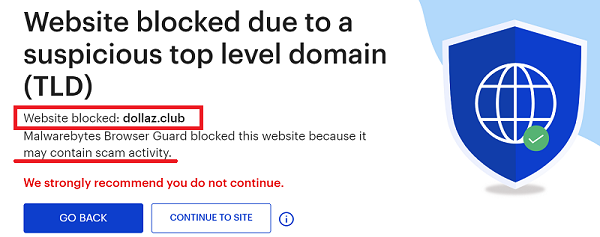 Dollaz.Club Malwarebytes Warning