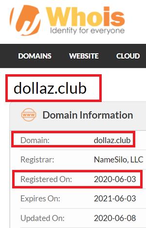 Dollaz.Club Domain Registration Date