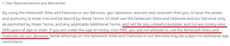 FameCash.co Age Limit
