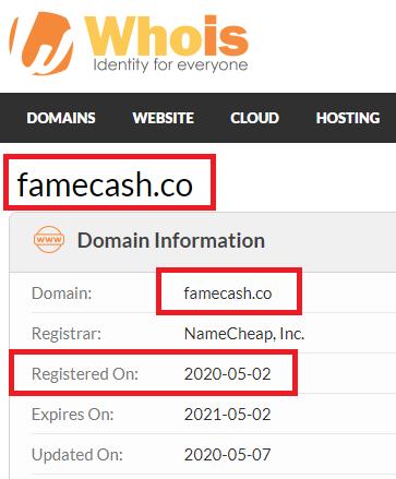 FameCash Domain Registration date