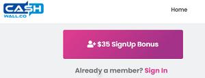 CashWall $35 Signup Bonus