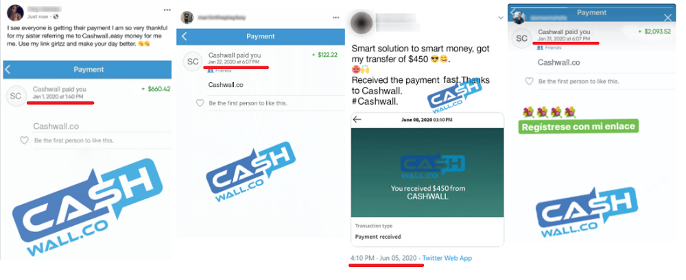 CashWall Fake payment proofs