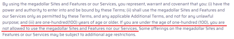 100 Year Age restriction