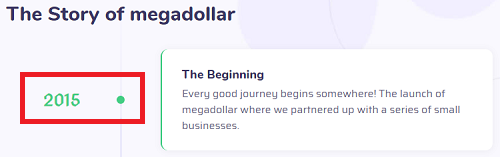MegaDollar co Review Founding Date
