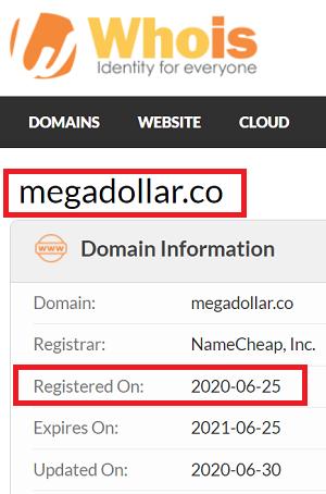 MegaDollar co Registration Date