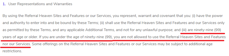 Referral Heaven Age Limit