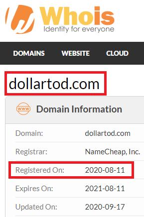 DollarTod Registry Date