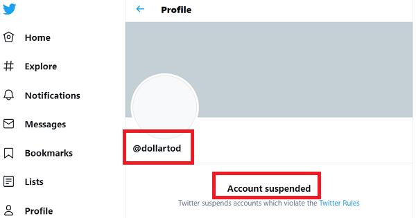 DollarTod Twiter Suspended